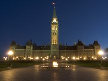 Parliament at dawn. Ottawa Parliament at dawn, just before sunrise with dark blue sky Stock Photography