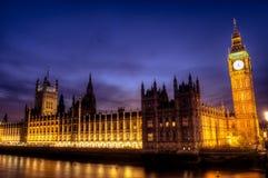 Parliament at dusk. Reflecting light on the River Thames, London, November royalty free stock photo