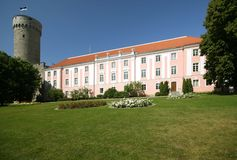 Parliament of Estonia. And Pikk Hermann bastion from the Garden of Governor, in Tallin Stock Photos