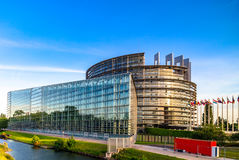 Parliament European building in Strasbourg, sunset Royalty Free Stock Photography