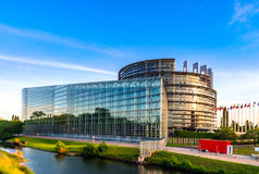 Parliament European building in Strasbourg, sunset Stock Images