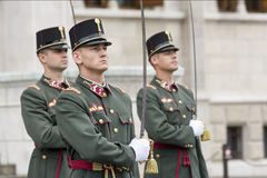 Parliament Guard In Front Of Hungarian Parliament Building, Budapest, Hungary Stock Photos