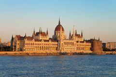 Parliament Hall in Budapest. Evening panorama of the Parliament Hall in Budapest, Hungary royalty free stock photo