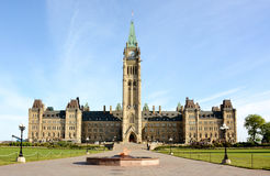 Parliament Hill and the Centennial Flame. The Centennial Flame monument and Parliament Hill on a sunny spring morning Stock Image