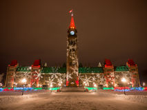 Parliament Hill at Christmas. The center block of the parliament buildings at Christmas time in Ottawa, Ontario, Canada stock images