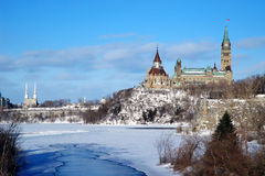 Parliament Hill, Ottawa. Parliament of Canada seen from the Ottawa river in winter Stock Photography