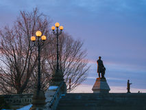 At the Parliament Hill in Ottawa. Monuments at the Parliament Hill in Ottawa on a winter evening Stock Photo
