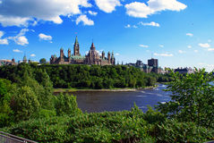 Parliament Hill with Partial Ottawa Skyline. Wide shot of the rear of the parliament buildings in Canada's capital of Ottawa stock photo
