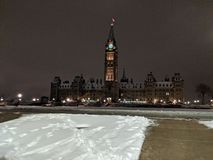 Parliament hill during winter night stock photography