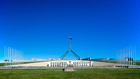 The Parliament House of Australia. The front view of the Parliament House of Australia in Canberra, taken on a clear sunny day Stock Photography