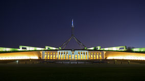 The Parliament House of Australia at night Stock Photos