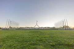 Parliament House Australia during sunset. Beautiful scene of sunset at Parliament House Canberra, Australia Royalty Free Stock Image