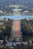 Parliament House in Canberra. A view toward Parliament House in Canberra from Mt Ainslie Royalty Free Stock Photo