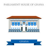 Parliament House of Ghana in Accra flat vector ill Stock Photography