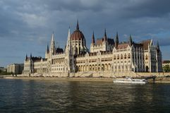 Parliament of Hungary. From the river Danube Stock Photo