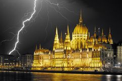 Parliament with lightning Royalty Free Stock Photos