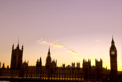 Parliament-London. Big Ben and Parliament silhouetted at sunset- London, England Stock Photos