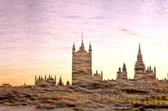 Parliament- London. Multiple exposure of Parliament reflected in River Thames- London, England Royalty Free Stock Photos