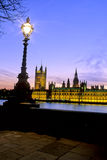 Parliament- London. Houses of Parliament illuminated at dusk- London, England Stock Image