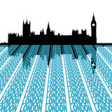 Parliament with London text Stock Photo