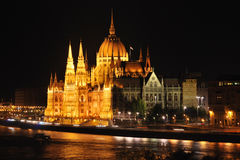 Parliament at night. Budapest Parliament by night as viewed from Buda side Stock Images