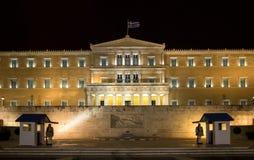 Parliament at night - Athens, Greece stock photos