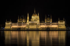Parliament at Night. Parliament building at night in Budapest Royalty Free Stock Photo