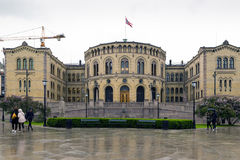 Parliament of Oslo with a cloudy sky. Stock Photos