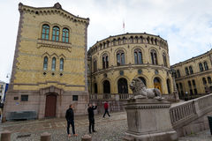 Parliament of Oslo with a cloudy sky. Stock Photography