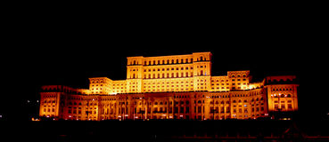 Parliament Palace. A night view of the Parliament Palace from Bucharest, Romania Stock Photos