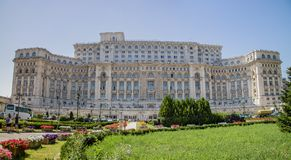 Parliament Palace, Bucharest, Romania. Bucharest, Romania - August 13th, 2018: A Side view of the palace of parliament, Bucharest, Romania stock photo