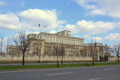 Parliament palace. The Palace of the Parliament in Bucharest, Romania is a multi-purpose building containing both chambers of the Romanian Parliament. According royalty free stock photo