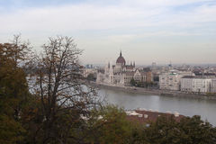 Parliament Panorama in Budapest from Buda Hill. Panoramic shot of the Hungarian Parliament in Budapest from the Buda side of the Danube River Royalty Free Stock Images