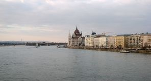 Parliament Panorama. Panorama of Budapest with Parliament building and Danube river Royalty Free Stock Photo