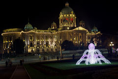 Parliament of Republic Serbia New Year decoration hdr stock image
