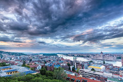 Parliament and riverside in Budapest Hungary with Dramatic sky d stock images