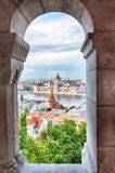 Parliament and riverside in Budapest Hungary. View from Fishermens bastions windows.  Stock Image