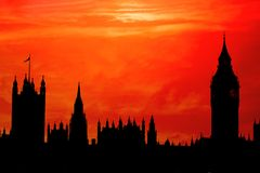 Parliament Silhouette. The Palace of Westminster in red sunset silhouette stock image