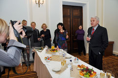 Parliament Speaker Volodymyr Lytvyn. Congratulated women-journalists on the occasion of March 8. (date: 3.03.2011 Stock Photography