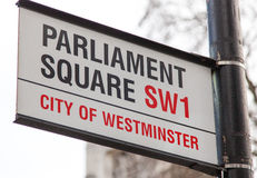 Parliament square road sign Royalty Free Stock Photo