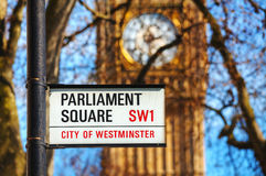 Parliament square sign in city of Westminster Stock Image