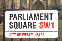 Parliament Square sign in London, UK. Royalty Free Stock Image