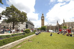 Parliament Square is a square at the northwest end of the Palace of Westminster in London Stock Photo