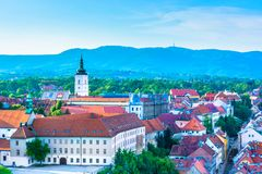 Parliament square in Zagreb, upper town. Scenic view at upper town in Zagreb city, aerial view at famous landmarks in capital town of Croatia, Europe Royalty Free Stock Photo