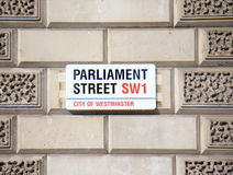 Parliament street sign Stock Images