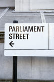 Parliament Street Sign, Westminster; London Royalty Free Stock Photos