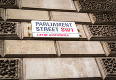 Parliament Street SW1 Street Sign Royalty Free Stock Photography