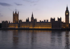 Parliament at Sunset. Parliament Buildings at Sunset from across the Thames Stock Image
