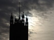 Parliament Tower Silhouette. Houses of Parliament tower silhouetted on a cloudy day stock images