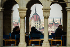 Parliament view. From a restaurant, Budapest Royalty Free Stock Photos